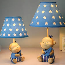 Fabric Starry Shade Reading Light With Cute Monkey Decoration Baby Kids Room 1 Bulb Table Lamp In White Beautifulhalo Com