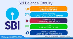 SBI Balance Inquiry via SBI Missed call Number, SMS, App....