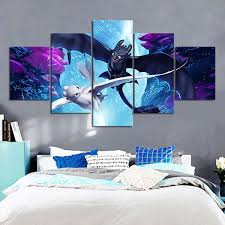 5 Piece How To Train Your Dragon Movie Poster Toothless Wall Painting Light Fury And Night Fury Dragon Home Decor Wall Sticker No Frame Wish