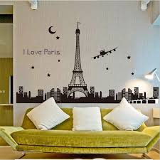 Panoramic I Love Paris Eiffel Tower Wall Sticker Quote Luminous City Night View Home Decor Decal Bedroom Fluorescent Wallpaper Wall Stickers Aliexpress