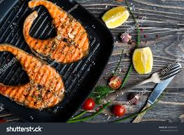 Grilled Red Fish Steaks Salmon On Stock ...