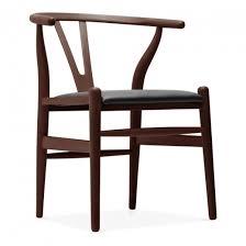 walnut wishbone chair black faux