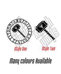 Thor Runic Vinyl Sticker Decal Ipad Car Window Rune Viking Triquetra Mjolnir Ebay