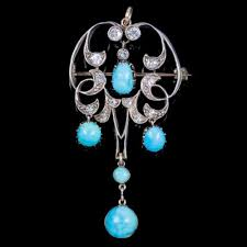 turquoise diamond dropper pendant