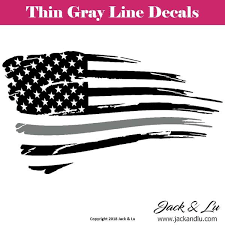 Tattered American Flag Thin Gray Line Corrections Decal Jack And Lu