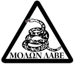 Amazon Com Jr Studio 5x4 Inch B W Triangle Molon Labe Dont Tread Snake Sticker Decal Gun Rights Nra Vinyl Decal Sticker Car Waterproof Car Decal Bumper Sticker Kitchen Dining