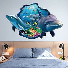 Amazon Com Chezmax 3d Dolphin Wall Art Sticker Removable Wall Decal For Home Decoration Home Kitchen
