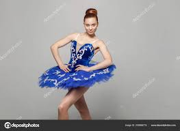 ballerina woman blue costume makeup bun