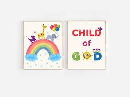 set of two printable wall art set of prints child of god