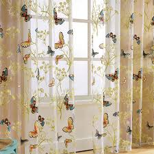 Home Window Decor Voile Valance Tulle Floral Butterfly Sheer Curtains Walmart Com Walmart Com