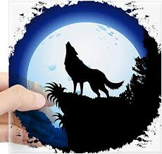 Amazon Com Cafepress Wolf Howling At Blue Moon Sticker Square Bumper Sticker Car Decal 3 X3 Small Or 5 X5 Large Home Kitchen