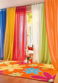 Colorful Blue Yellow Red White Green And Orange Sheer Bedroom Curtains With Flowery Rugs In Kids Bedroom Dec Curtains Living Room Home Curtains Curtain Designs