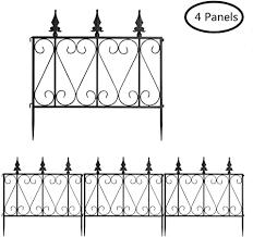 Costway Decorative Garden Fence Coated Rustproof Metal Fencing Panels Outdoor Folding Animal Pets Barrier Border Edging Fence Gates For Patio Backyard 24in X 8ft Black Amazon Co Uk Garden Outdoors