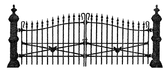 Antique Images Free Antique Graphic For Halloween Spooky Wrought Iron Fence Illustration With Black Cat Head Design