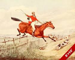 Horse Rider Fence Jump Fox Hunt Equestrian Hunting Art Painting Canvas Print Saltlakeco