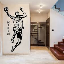 Personalized Name And Number Basketball Player Wall Sticker