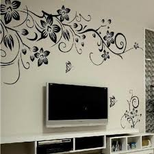 Black Floral Butterfly Flower Diy Vine Wall Sticker Art Decor Mural Room Decal Buy At A Low Prices On Joom E Commerce Platform