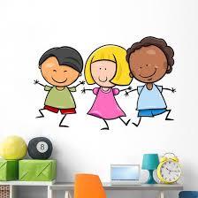 Multicultural Children Cartoon Illustration Wall Decal Wallmonkeys Com