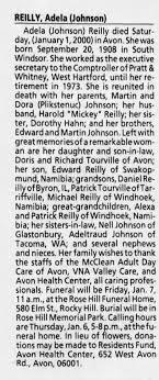 Obituary for Adela REILLY, 1908-2000 - Newspapers.com