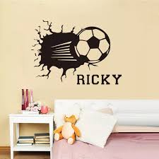 Personalized Wall Decal Football Smashing Wall Sticker Custom Name Vinyl Decal Special Design Soccer Pattern Home Poster Syy057 Poster Design Designer Wall Stickersname Wall Stickers Aliexpress