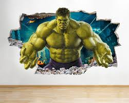 H Incredible Hulk Kids Smashed Wall Decal Poster D Art Independence