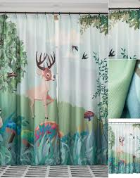 Deer Cartoon Green Tree Print Nature Kids Room Birds Window Curtains