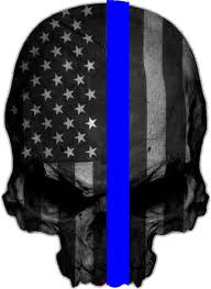 Subdued Thin Blue Line American Flag Punisher Window Decal 6 5 X 4 75 Rappygraphics Com