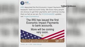 IRS begins stimulus check deposits ...