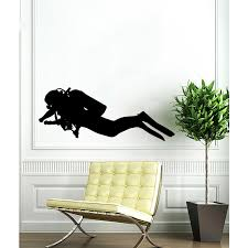 Shop Black Scuba Diver Vinyl Sticker Wall Art Overstock 10314580