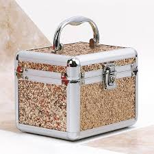 golden bling jewellery makeup box
