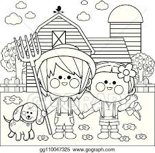 Vector Art Children At The Farm Vector Black And White Coloring Page Eps Clipart Gg110047325 Gograph