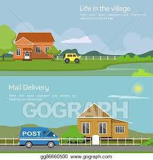 Vector Clipart Outdoor Side View On Village House In Countryside With Bushes And Lake Trees And Car Or Jeep Sun And Cloud Fence Or Palisade Mail Delivery Automobile Vector Illustration Gg86660500