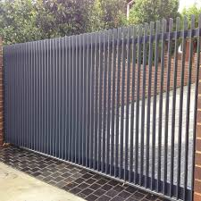 China Main Entrance Gate Driveway Gate Door Steel Slat Bar Vertical Gate Aluminum Slat Bar Fence Gate China Gate Security Door