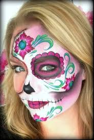 pretty half face skull makeup