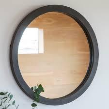 abra modern round wall mirror concrete