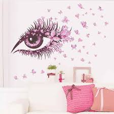 Wall Decal Charming Fairy Girl Eye Wall Sticker For Kids Room Flower Butterfly Heart Bedroom Sofa Decoration Wall Art D30m25 Eyes Wall Stickers Sticker For Kids Roomwall Stickers For Kids Aliexpress