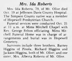 Obituary for Ida R Higgins Roberts - Newspapers.com