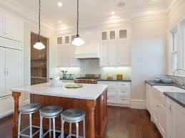 kitchen with schoolhouse pendants