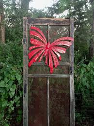 Exlarge Red Butterfly Butterfly Fence Decor Metal Fence Fence Decor Fence Art Metal Fence