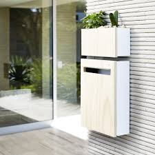 Javi Wall Mount Letterbox With Javi Wall Planter In White With Clear Accoya Wood Front Panel Modern Mailbox Wall Planter Wall Mounted Planters