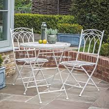 outdoor white metal bistro set