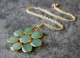 large chrysoprase daisy style necklace