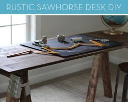 sawhorse desk diy craft room table