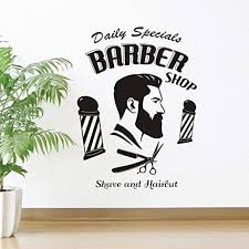 Amazon Com Barbershop Wall Sticker Man Salon Vinyl Man Hairdresser Wall Decal Window Decal Removable Quote Hairstyle Mustache Wall Art Decor Mural Sy431 57x78cm Black Kitchen Dining