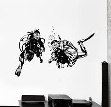 Vinyl Wall Decal Divers Ocean Decor Scuba Diving Suit Extreme Sport St Wallstickers4you