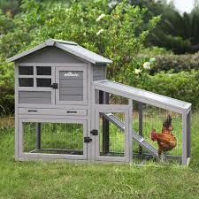 Amazon Com Aivituvin Chicken Coop Wooden Hen House Outdoor And Indoor Wire Fence Poultry Cage With Removable Bottom Wire Mesh Pvc Layer Uv Panel Grey Garden Outdoor