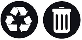 Amazon Com Zhehao Decal Recycle And Trash Decal Set Trash Can Decal Vinyl Decal Recycle Bin Decal Container Decal Go Green Decal Garbage Sticker 8 3x4 Inches Black Kitchen Dining