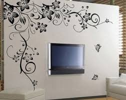 Large Black Vine Flower Rattan Butterfly Removable Vinyl Wall Decal Stickers Art Home Decor Mural Diy Simple Wall Paintings Wall Painting Decor Decal Wall Art