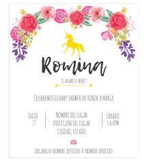 Invitacion Baby Shower Unicornio Flores Invitaciones Para Baby