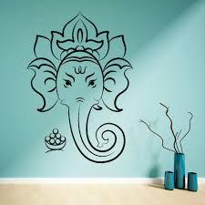 Hindu God Ganesha Ganesh Vinilo Adhesivo Mural Home Decoration Elephant Ganesh Wall Art Decal Lotus Yoga Wall Sticker M 173 Yoga Wall Stickers Wall Stickerwall Art Decals Aliexpress